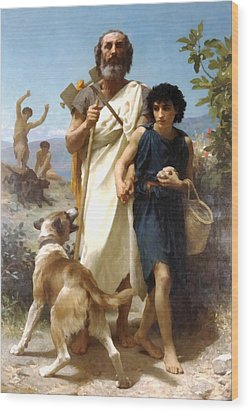 Homer And His Guide Wood Print by William Bouguereau