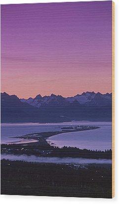 Homer Spit Sunset Kenai Mtns Kenai Wood Print by Jeff Schultz