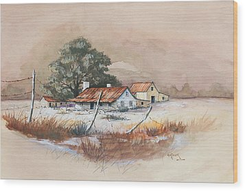 Homestead Wood Print by Bob Hallmark