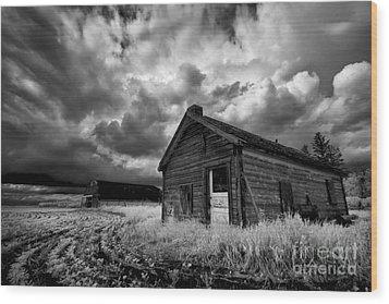 Homestead Under Stormy Sky Wood Print by Dan Jurak