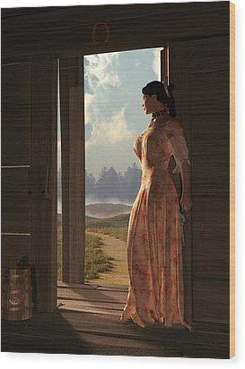 Homestead Woman Wood Print by Daniel Eskridge
