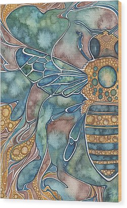 Wood Print featuring the painting Honey Bee by Tamara Phillips