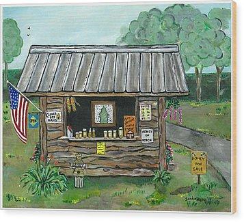 Honey For Sale Wood Print by Sandie Keyser