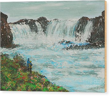 Honeymoon At Godafoss Wood Print by Alys Caviness-Gober