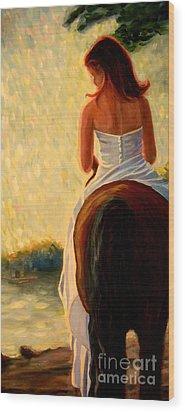 Honeymoon Ride In Gold Wood Print by Gretchen Allen