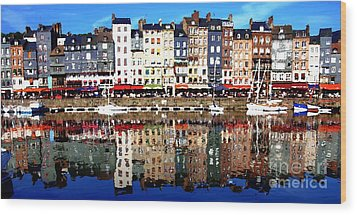 Wood Print featuring the photograph Long Horizontal Abstract - Honfleur Artists Village  by Jacqueline M Lewis