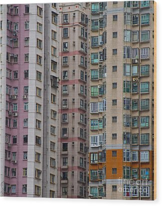 Hong Kong Buildings  Wood Print