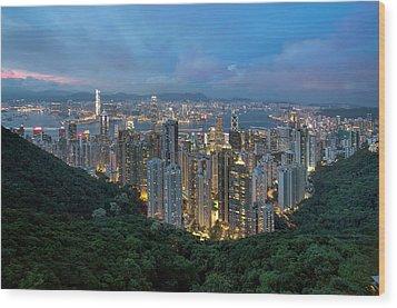 Hong Kong From Sky Terrace 428 At Victoria Peak Wood Print