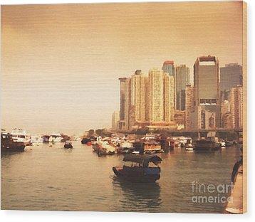 Hong Kong Harbour 02 Wood Print by Pixel Chimp