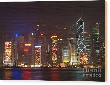 Hong Kong Holiday Skyline Wood Print by Ei Katsumata