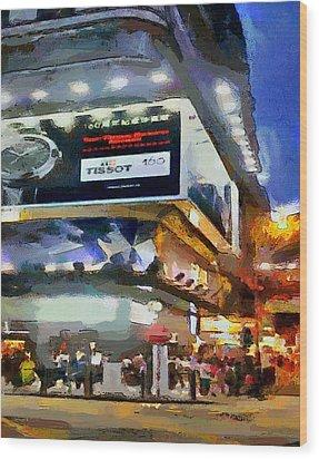 Hong Kong Night Lights 1 Wood Print by Yury Malkov
