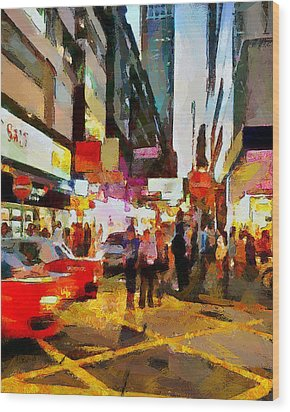 Hong Kong Night Lights 2 Wood Print by Yury Malkov