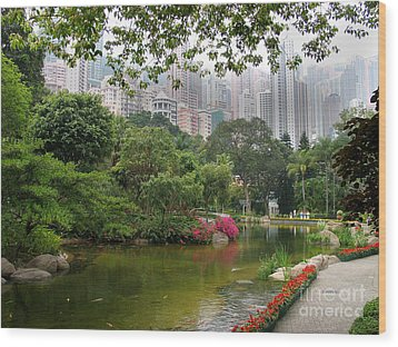 Wood Print featuring the photograph Hong Kong Park by Art Photography