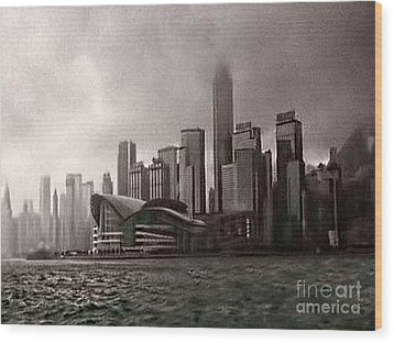 Hong Kong Rain 5 Wood Print