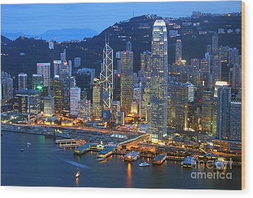 Hong Kong Skyline At Night Wood Print by Lars Ruecker