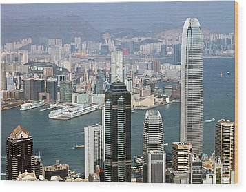 Hong Kong Skyline Wood Print by Lars Ruecker