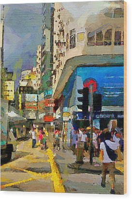 Hong Kong Streets 1 Wood Print by Yury Malkov