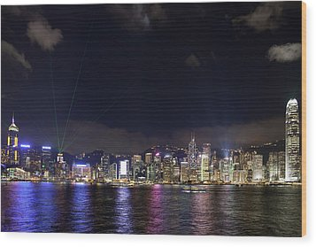 Hong Kong Symphony Of Lights Show Wood Print by David Gn