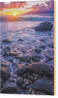 Honolua Sunset Wood Print by Hawaii  Fine Art Photography