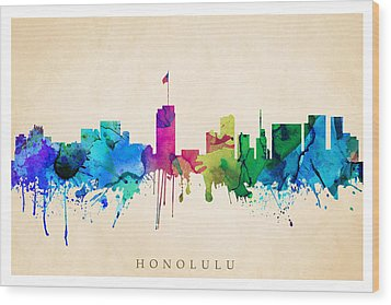 Honolulu Cityscape Wood Print