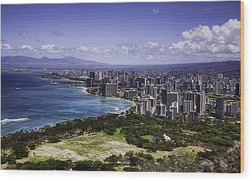 Honolulu From Diamond Head Wood Print by Joanna Madloch