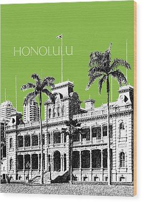 Honolulu Skyline Iolani Palace - Olive Wood Print by DB Artist
