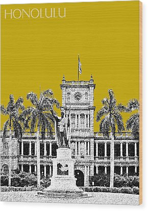 Honolulu Skyline King Kamehameha - Gold Wood Print by DB Artist