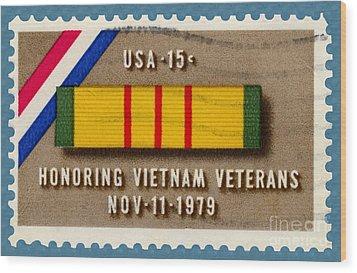 Honoring Vietnam Veterans Service Medal Postage Stamp Wood Print
