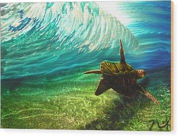 Honu Surf 2 Wood Print by Nick Knezic