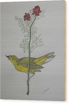 Hooded Warbler Wood Print by Kathy Marrs Chandler