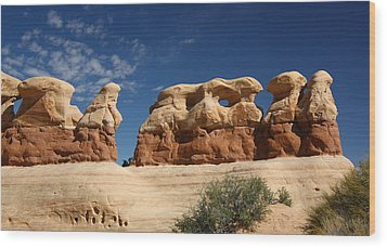 Hoodoos In Devils Garden In Grand Staircase Escalante National Monument Wood Print