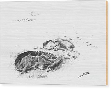 Hoof Prints Wood Print by Marianne NANA Betts