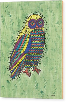 Wood Print featuring the painting Hoot Owl by Susie Weber