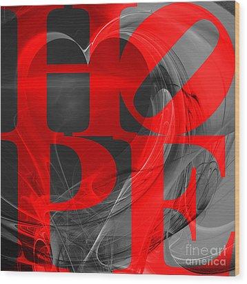 Hope Fractal Heart 20130710 V1b Wood Print by Wingsdomain Art and Photography