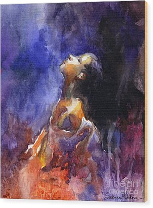 'hope' Woman Portrait  Wood Print