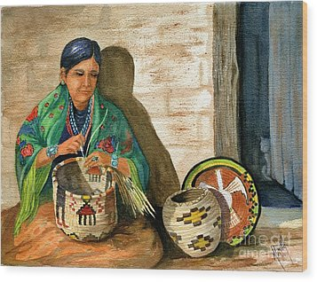 Hopi Basket Weaver Wood Print by Marilyn Smith