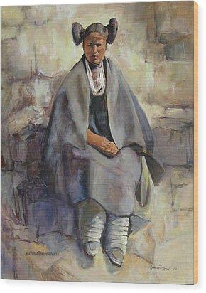 Hopi Girl Seated Wood Print