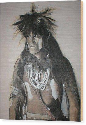 Hopi Snake Priest Wood Print by Terri Ana Stokes