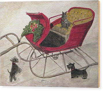 Hoping For A Sleigh Ride Wood Print by Angela Davies