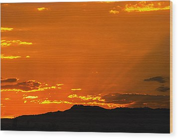 Horetooth Rock At Sunset Wood Print by Rebecca Adams