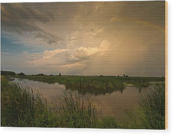 Horicon Marsh Storm Wood Print by Steve Gadomski