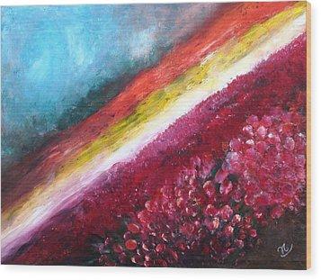 Horizon Flowers Wood Print
