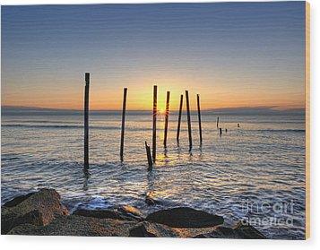 Horizon Sunburst Wood Print by Michael Ver Sprill