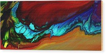 Horizontal Abstract Art Blue Rhapsody By Kredart Wood Print by Serg Wiaderny
