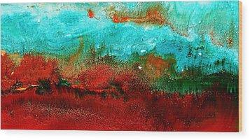 Horizontal Panoramic Abstract Art - Burning Meadows By Kredart Wood Print