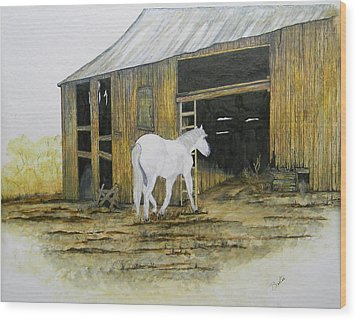 Horse And Barn Wood Print