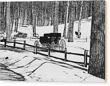 Wood Print featuring the photograph Horse And Buggy - No Work Today A Black And White Abstract by Janice Adomeit