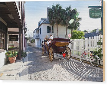 Horse And Buggy Ride St Augustine Wood Print by Michelle Wiarda