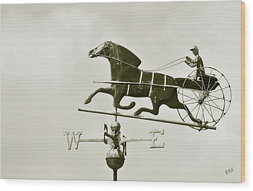 Horse And Buggy Weathervane In Sepia Wood Print by Ben and Raisa Gertsberg