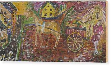 Horse And Cart Wood Print by Dozel Lake